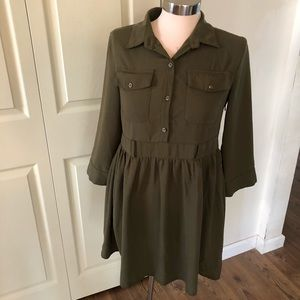 Boohoo khaki olive green button down front dress 6